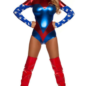 Sexy superhero costume includes tricolor metallic bodysuit with star-spangled sleeves and matching headband