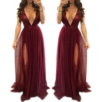 Fashion Sexy V neck straps gauze splicing sequins long red dress