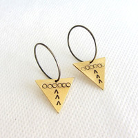 Oxidized Sterling silver hoop earrings with stamped gold brass triangle.
