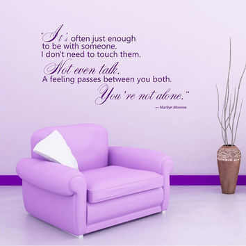 Housewares Marilyn Monroe Quote Wall Vinyl Decal Sticker Mural ...You're not alone. V279