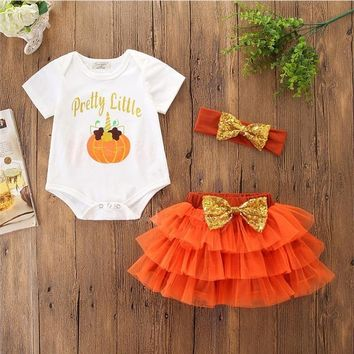 Newborn Pumpkin Pattern Baby Girl Romper+skirt+Sequin Bow Hair Accessories 3pcs Halloween Clothes newborn baby girl clothes