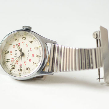 Soviet nurse watch, silver shade pocket watch Seagull, small watch with clip, glowing in darkness watch, unique mechanical lady watch gift