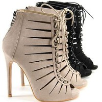 Womens High Heel Booties Stilettos Open Toe Lace Up Faux Suede Heels New