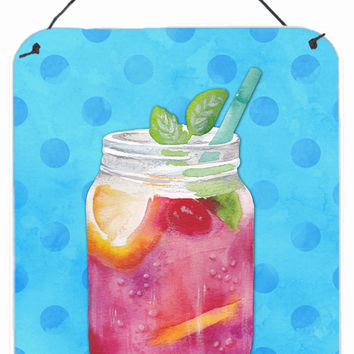 Mason Jar Cocktail Blue Polkadot Wall or Door Hanging Prints BB8251DS1216