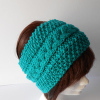 Headband. Knit Cable headband, Hand knit earwarmer. Warm Ski Headband. Teal coloured chunky knit ear warmer, Chunky knit head wrap. Hairband