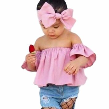 Adorable Pink Little Baby Girls 2Pcs Off the Shoulder Ruffle Chiffon Top with Matching Hairbow 2T to 6yr