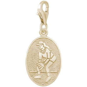 Female Softball Charm in Yellow Gold Plated