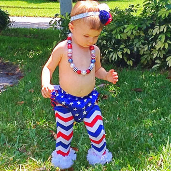 Red White and Blue Leg Warmers - 4th of July Baby - Chevron Ruffle Leg Warmers - Photo Props - Knee Pads - Sized for 3 months - Young Child