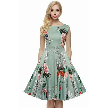 Floral Swing Summer Dress in Green with Pink Flowers
