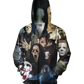 3D Hoodie Full Print Horror Movie Killers/Halloween Devil/Shark/Zombie Sweatshirt
