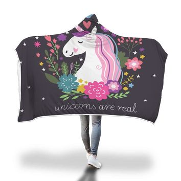 Beautiful Unicorns Are Real Hooded Blankets