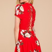 Careful Thinking Red Floral Print Dress