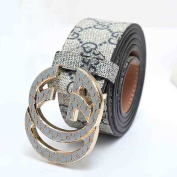 GUCCI Woman Men Fashion Smooth Buckle Belt Leather Belt