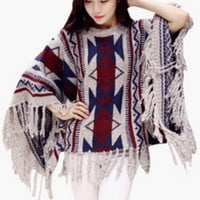 Tribal Print Batwing Sleeve Fringed Knitted Coat