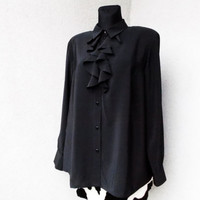 Vintage Black Womens blouse Jabot Lightweight Ruffle Victorian Bohemian Collared Blouse Ladies Long sleeves / Medium