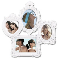 Decorative White Polyresin Highly Detailed Wall Hanging Collage Picture Photo Frame
