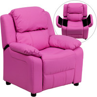 Flash Furniture Deluxe Heavily Padded Contemporary Hot Pink Vinyl Kids Recliner w/ Storage Arms - BT-7985-KID-HOT-PINK-GG