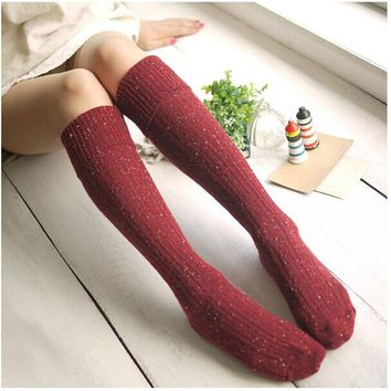 Fashion Women's Socks Sexy Warm Thigh High Over The Knee Socks Long Wool Blend Autumn Winter Thick Stockings For Ladies Girls