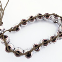 woven bead bracelet, unisex brown aluminium bead bracelet, UK shop