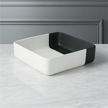 dip black and white serving bowl