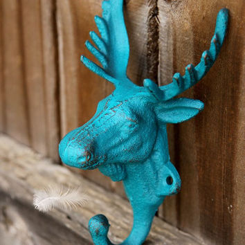 Moose Head Wall Hook // Moose Coat Hook // Cast Iron Hook  // Cottage Decor // Moose Decor // Hunting Decor // Moose Head // Moose Hook