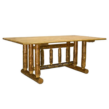 Montana Woodworks    MWGCDT Glacier Country Stained and Lacquered Dining Table Trestle Based
