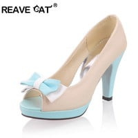 REAVE CAT Sapatos femininos salto alto New arrival Spring Women shoes high heels Pumps Open toe Platforms Cute Sweet Pink QL4936
