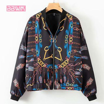 Chic women's new 2018 winter chain printing round neck long-sleeved fashion bomber jacket women