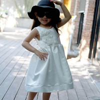 Ivory white flower girl dress, plain white dress, girl dress, girl formal dress, girl dress ivory white