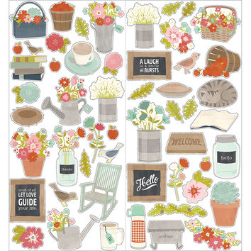 "Front Porch Cardstock Stickers 6""""X12"""" 2/Pkg-Icon & Phrase"