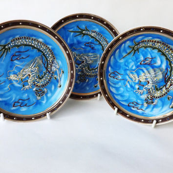 3 Small Oriental Dragonware Plates, Cobalt Blue Moriage Satsuma Ware, Japanese, Made in Japan, Oriental Dragon, Asian Decor, Saucers