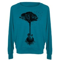 Womens Sweatshirt Guitar Tree Tri-Blend Raglan Pullover - American Apparel Sweater - S M and L (8 Color Options)