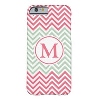 Pink And Mint Green Chevron Pattern With Monogram Barely There iPhone 6 Case