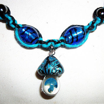 Celtic Blue Mushroom Hemp Necklace with Blown Glass pendant and Lampwork Glass beads Gemstone Magnetic Hematite Hemalyke Hemp Jewelry