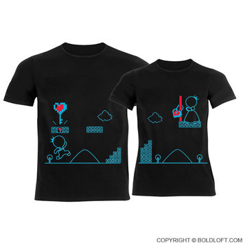 Key To My Heart™ His & Hers Matching Couple Shirts Black