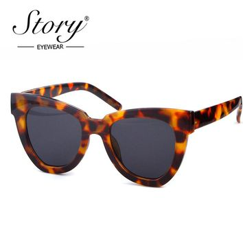 STORY 2018 Vintage Retro Cat Eye Sunglasses Brand Designer Sexy Leopard Big Frame Oceans Sun Glasses Cateye Shades For Femal