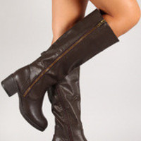 Leatherette Zipper Knee High Riding Boot