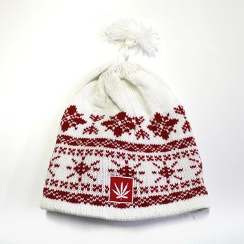 Waterman Red/White Tassel Beanie
