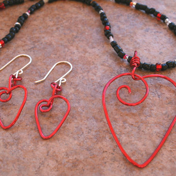 Handmade Red Aluminum Heart Pendant Necklace Earring Set , Red Black White Valentine Jewelry Set , Wire Wrapped Love Pendant