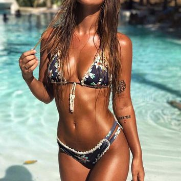 Sexy Hand Crochet Print Woven Shell Bottom Side Open Two Piece Bikini Swimsuit