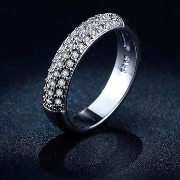 Double Row CZ Crystal Half Eternity Ring