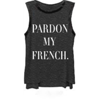 """Pardon My French"" Muscle Tank In Heather Grey/Black Leather 
