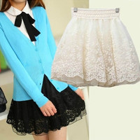 2014 Fashion Women High Waisted Lace Mini  Skirts Ball Gown Skirts One Size = 1946876996