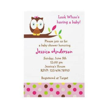 Owl Whoo Baby Shower Birthday Party  Invitations from Zazzle.com