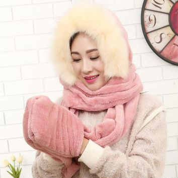 HT548 Hot new women winter warm soft plush faux fur hooded cap scarf gloves Girls thick cashmere hats scarves and gloves sets