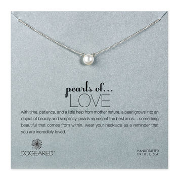 Dogeared, Pearls of Love White Pearl Necklace, Sterling Silver