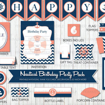 Nautical Themed Printable Party Pack,Coral and Blue, Navy, Chevron Anchor, Birthday Party Decorations, DIY Party