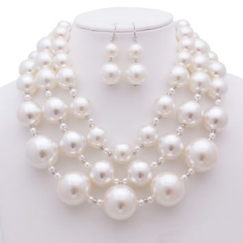 Sophie Simulated Pearl Bib Necklace and Earrings Set