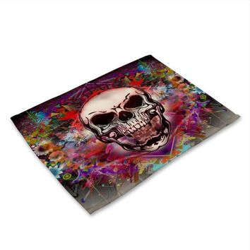 Color skull printing Cotton Linen Western Pad Placemat Insulation Dining Table Mat Anti-skid