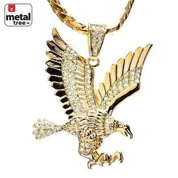 Jewelry Kay style Men's 14k Gold Plated CZ Iced Eagle Pendant Miami Cuban Chain Necklace BCH 13585
